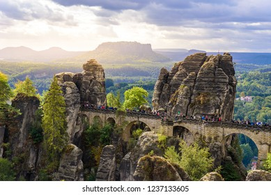 Panorama view on the Bastei bridge. Bastei is famous for the beautiful rock formation in Saxon Switzerland National Park, near Dresden and Rathen - Germany. Popular travel destination in Saxony.