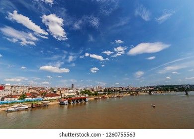 Panorama view on Belgrade old part of town and bridge, on confluence of two rivers