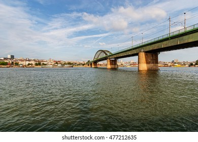 Panorama view on bridge over the river, who connecting two parts of the town