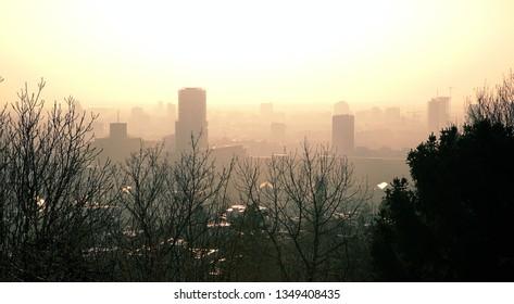 Panorama view on capital Bratislava from Slavin monument during sinrise, Bratislava, SLovakia