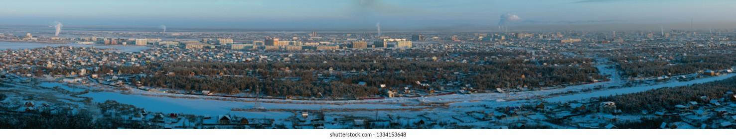 Panorama view on the city at sunset, Yakutsk, Yakutia, Russia