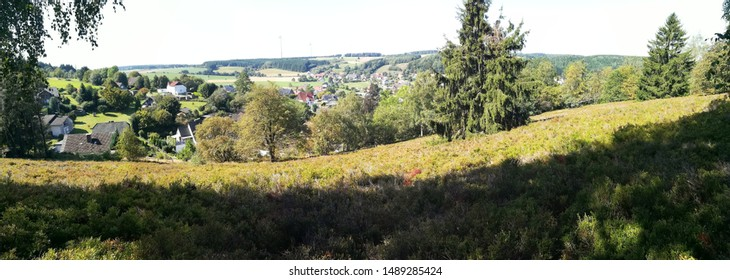 panorama view on heath in feldrom with geo cache