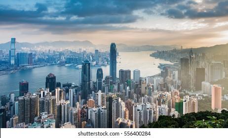 Panorama view on Hong Kong Peak, Hong Kong