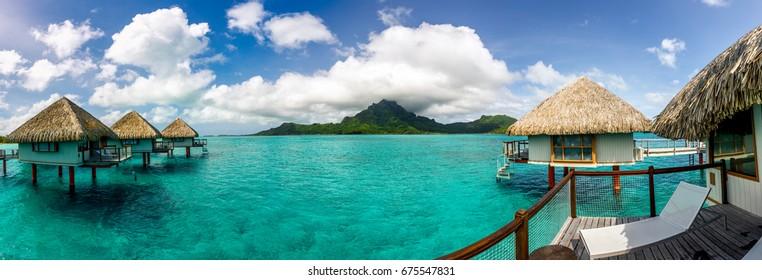 Panorama with view on Otemanu mountain at Bora-Bora, French Polynesia