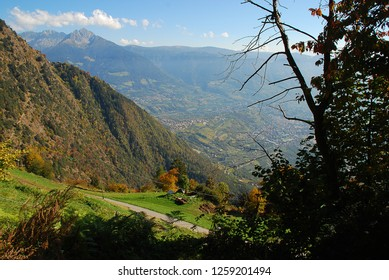 Panorama view on valleys and mountains (Sarntal Alps) in the italian alps (near Meran, South Tyrol, Italy)