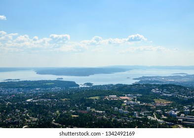 Panorama view of Oslo from Holmenkollen.