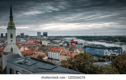 Panorama view over Bratislava - Slovakia and some historical buildings , 2018. Autumn, cloudy, drama.