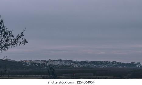 Panorama view over the city skyline from Bratislava Slovakia.