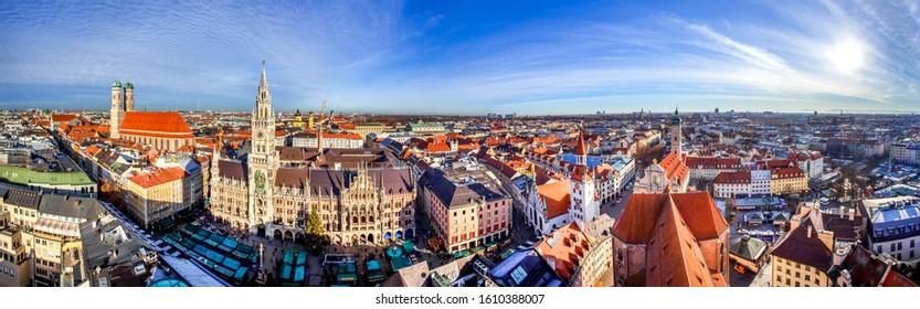 Panorama view over Munich, Bavaria, Germany