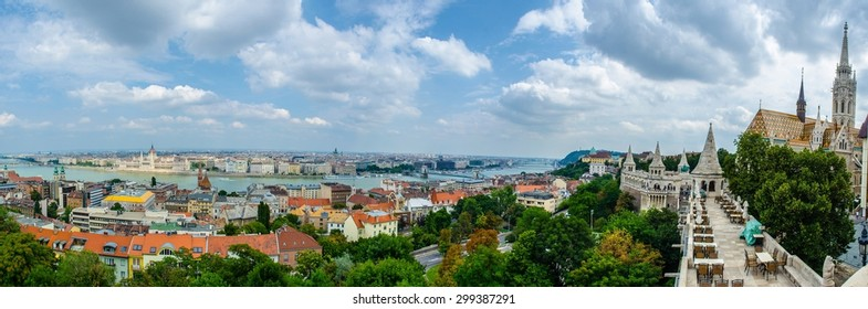 panorama View over restaurant on the top of halszbastya - fishermans bastion in hungarian capital budapest.