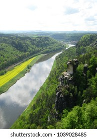 Panorama view over the Saxon Switzerland national park and the river Elb in early May