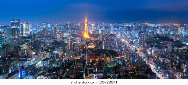 Panorama view over Tokyo tower and Tokyo cityscape view from Roppongi Hills at night in Tokyo,Japan