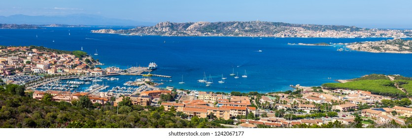 Panorama view of Palau cityscape on coast line of mediterranean sea in Sardinia island, Italy