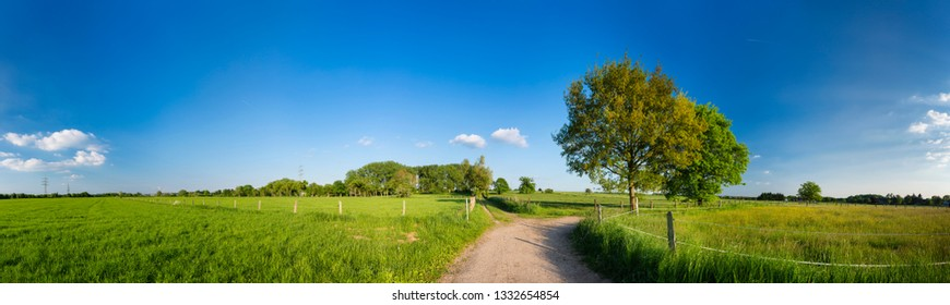 Panorama view of paths and roads leading into meadows and hills in the northern Eifel near Aachen, Germany.