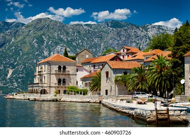 Panorama view of Perast city in Montenegro