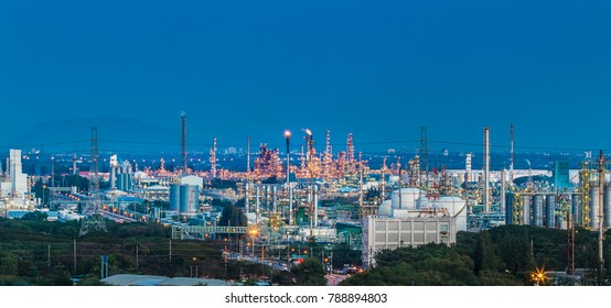 Panorama view of petroleum and chemical refinery plant in twilight time