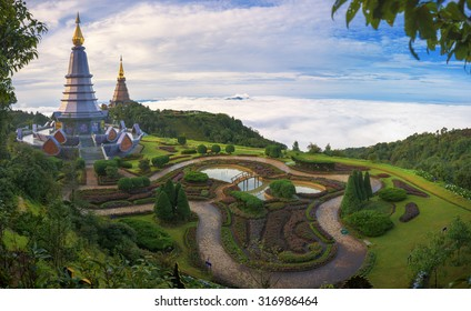 Panorama view of Phra Mahathat Napha Methanidon and Phra Mahathat Naphaphon Bhumisiri, a twin pagodas that were built to commemorate the fifth cycle birthdays of the King and the Queen of Thailand.