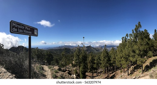 Panorama view from Pico de las Nieves the highest peak of the island of Gran Canaria