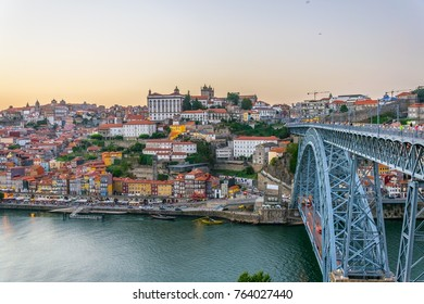 Panorama view of porto during susnset.