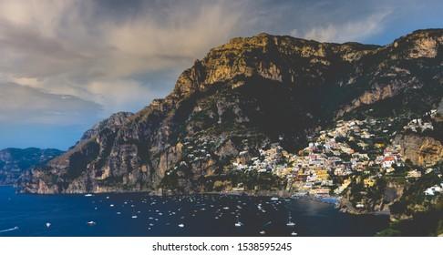Panorama view to Positano coastline