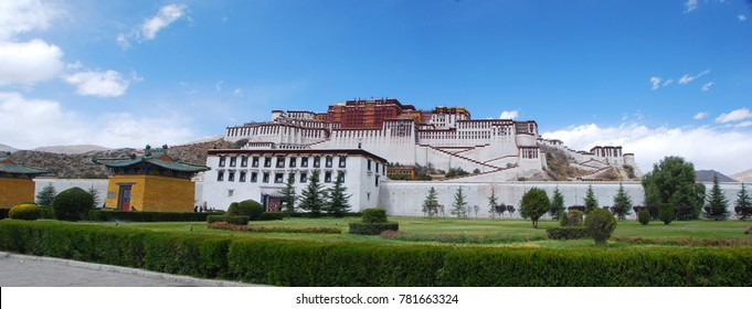 Panorama view of Potala Palace in Lhasa, Tibet.