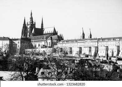 Panorama view of Prague. Prague Castle and Hradcany. Black and white photo