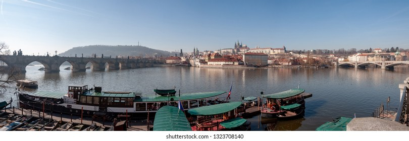Panorama view of Prague. Prague Castle and Hradcany.