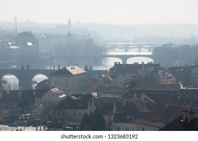 Panorama view to Prague. New scycrapers behind the Old Town. Prague view to architecture and bridges across the river Vltava