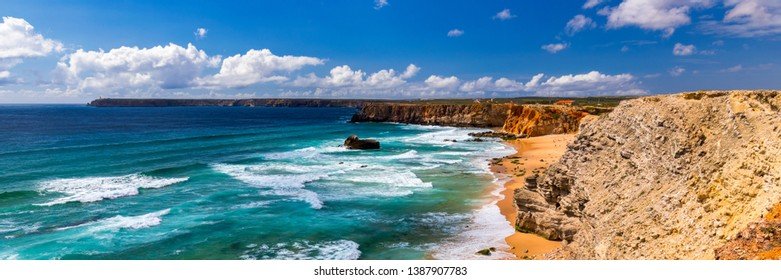 Panorama view of Praia do Tonel (Tonel beach) in Cape Sagres, Algarve, Portugal. Praia Do Tonel, beach located in Alentejo, Portugal. Ocean waves on Praia Do Tonel beach. View from Sagres fortress.