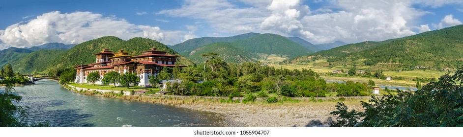 Panorama view of Punakha Dzong and Valley of Pho Chhu (Pho River) at the former Capital of Bhutan at the junction of Pho Chhu and Mo Chhu