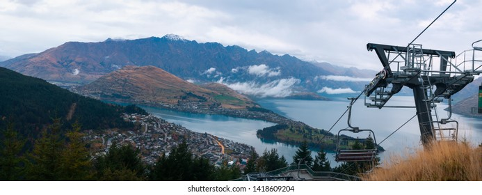 Panorama view of Queenstown city during the sunset with the view of mountain  South Island, New Zealand