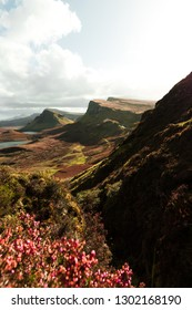 Panorama view of Quiraing on a sunny and cloudy autumn day with flower foreground and view of Skye and mountains (Isle of Skye, Scotland, Europe)