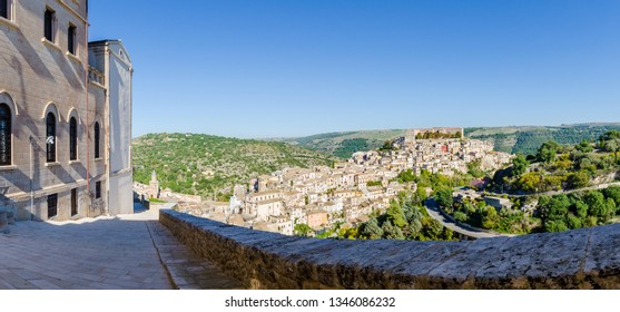 Panorama view of Ragusa Ibla from belvedere in Ragusa, Sicily, Italy.