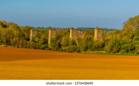 A panorama view of the remains of the railway viaduct at Hook Norton, Oxfordshire, UK
