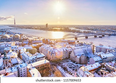 Panorama view from Riga cathedral on old town of Riga at sunset in winter, Latvia