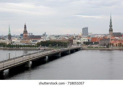 Panorama view of Riga city, capital of Latvia. The embankment of the Daugava River near Stone Bridge.