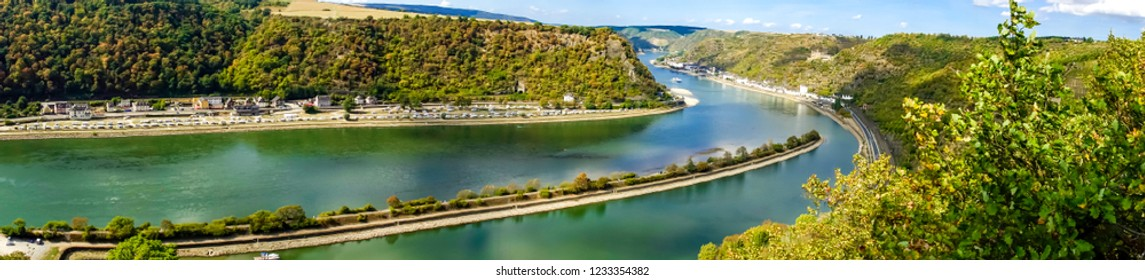 Panorama view to the river rhine from famous lorely in germany