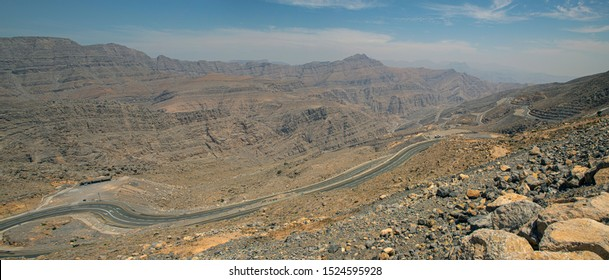 Panorama view of the road to the top of Jabel Jais mountain peak in the Emirate of Fujairah near the Dubai desert