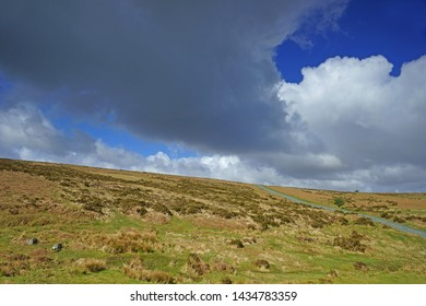 A Panorama view of the rugged beauty and landscape of Dartmoor in summer, Dartmoor National Park, Devon, UK