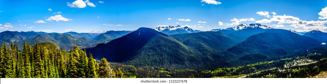 Panorama view of the Rugged Peaks of the Cascade Mountain Range on the US-Canada border as seen from the Cascade Lookout viewpoint in EC Manning Provincial Park in British Columbia, Canada