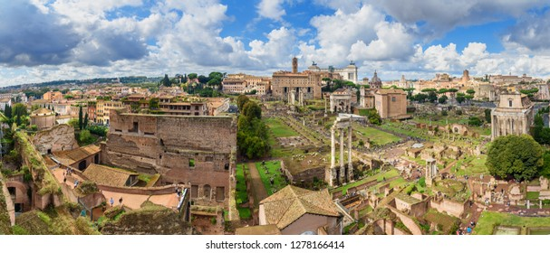 Panorama view of Ruins of Roman Forum from Farnese Garden. in Rome. Italy