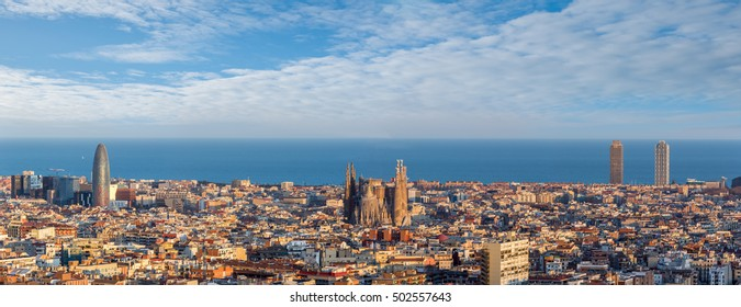 panorama view of sagrada familia and barcelona city ,Spain
