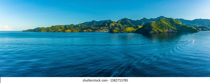 A panorama view of Saint Vincent passing Fort Charlotte in the early morning light