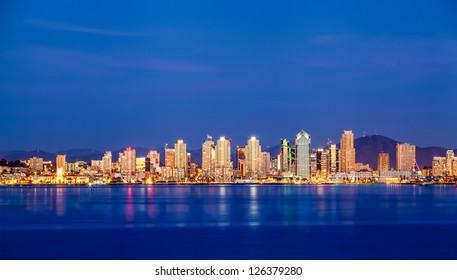 Panorama view of San Diego downtown skyline