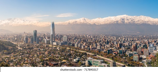 Panorama View of Santiago from Cerro San Cristobal, Chile