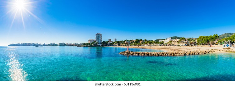 Panorama view of the seaside beach Platja des Carregador Palmanova on Majorca island, Spain Mediterranean Sea.