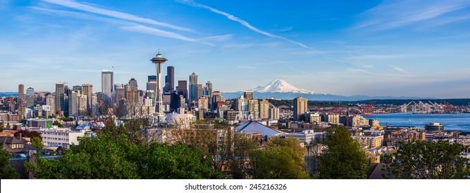 Panorama view of Seattle downtown skyline and Mt. Rainier, Washington.