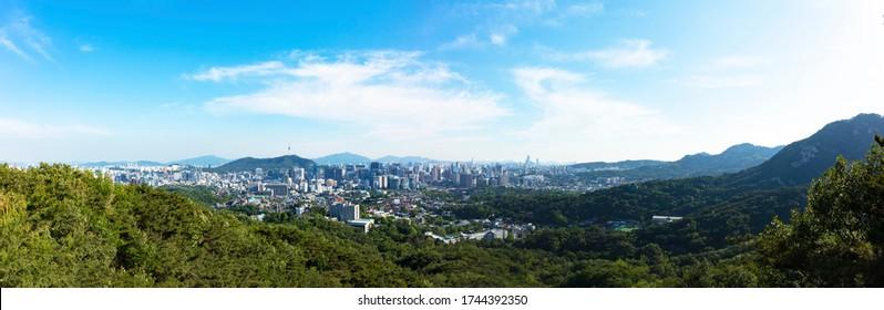 Panorama View of Seoul City Skyline and Seoul Tower South Korea