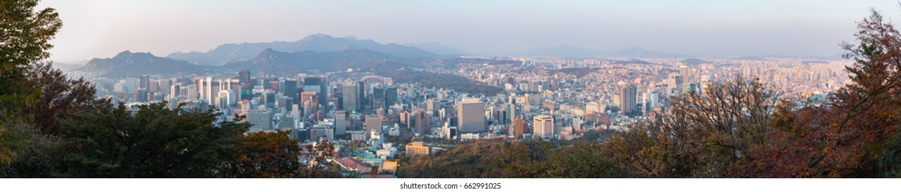 panorama view of Seoul city, South Korea in the evening