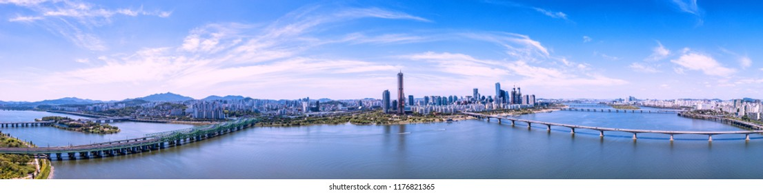 Panorama view of seoul skyline and cityscape in seoul,south korea.